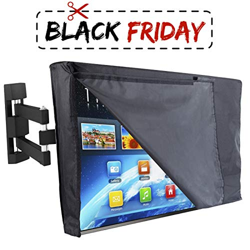 """Outdoor TV Cover 55"""" - NOW WITH FRONT FLAP - The BEST Quality Weatherproof and Dust-proof Material with FREE Microfiber Cloth. Protect Your TV Now!"""
