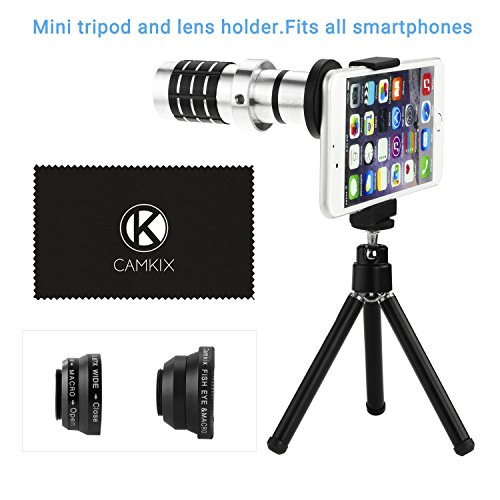 CamKix Universal Smart Phone Camera Lens Kit including 12x Telephoto Manual Focus Lens / Fish Eye Lens / 2 in 1 Macro and Wide Angle Lens / Tripod / Lens and Phone Holder / Fits Most Phones