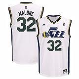Karl Malone Utah Jazz NBA Adidas Men's White Replica Jersey (XL)