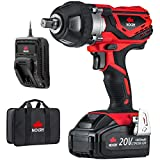NoCry 20V Cordless Impact Wrench Kit - 300 ft-lb (400 N.m) Torque, 1/2 inch Detent Anvil, 2700 Max IPM, 2200 Max RPM, Belt Clip; 4.0 Ah Battery, Fast Charger & Carrying Case Included
