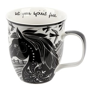 Karma Gifts Black and White Boho Mug, 16 oz, HORSE
