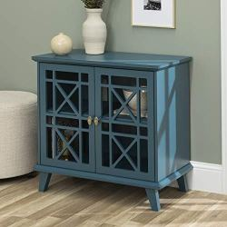 Walker Edison Wood Accent Buffet Sideboard Serving Storage Cabinet with Doors Entryway Kitchen Dining Console Living Room, 32 Inch, Blue