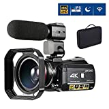 4K Video Camera Camcorder ORDRO 4K Ultra HD Digital WiFi Video Camcorder 1080P 60FPS Recorder IR Night Vision 3.1' IPS Touch Screen with Microphone, Wide Angle Lens and 2 Batteries
