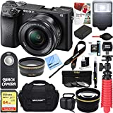 Sony ILCE-6500 a6500 4K Mirrorless Camera (Black) w/ 16-50mm Power Zoom Lens + 32GB Accessory Bundle + DSLR Photo Bag + Extra Battery + Wide Angle Lens+2X Telephoto Lens + Flash + Remote + Tripod