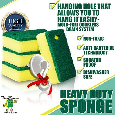 Scrub-Cleaning-Supplies--Kitchen-Dish-Sponge-with-Hook-Holder--Multipurpose-Clean-Pad-Suction-Cup-Hook--Long-Lasting-Scrubber-with-Hanging-Hole--Odorless-Drain-System-9