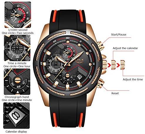 Lige Men's Watch Fashion Waterproof Silica Gel Chronograph Luxury Business Analog Quartz Watches Classic Black Belt Date Calendar Watch 7
