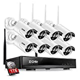 ZOSI 8CH Wireless Security Cameras System With 1TB Hard Drive,8 Channel 960P NVR and (8) HD 960P 1.3MP Outdoor Indoor Home Video Surveillance WiFi Cameras with 100ft Night Vision,Motion Detection