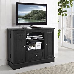 Walker Edison Furniture Company Tall Traditional Wood Universal Stand with Cabinet Doors and Open TV's up to 48″ Living Room Storage Shelves Entertainment Center, 42 Inch, Black
