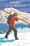 Vail, Colorado - Skier Carrying Skis (16x24 Giclee Gallery Print, Wall Decor Travel Poster)