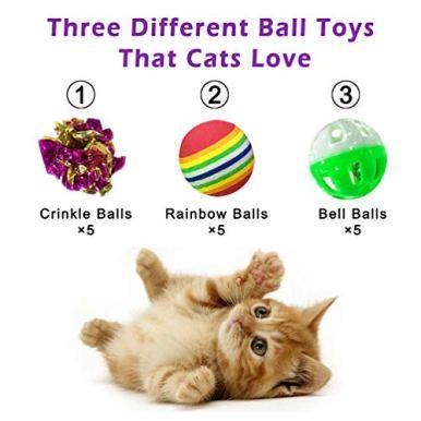 DofooU-Kitten-Toys-Balls-Cat-Toys-Set-Including-Mylar-Crinkle-Balls-Rainbow-Play-Balls-Jingle-Bell-Balls-for-Kitty-Toys-15-pcs