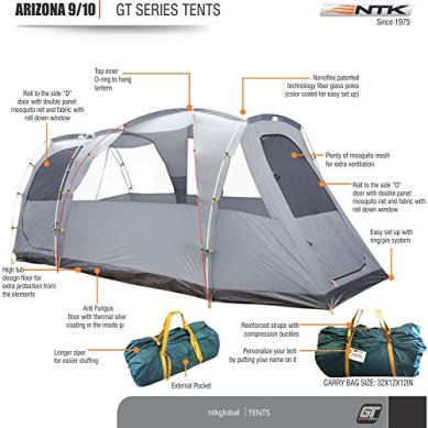 NTK-Arizona-GT-9-to-10-Person-174-by-8-Foot-Sport-Camping-Tent-100-Waterproof-2500mm-Tent