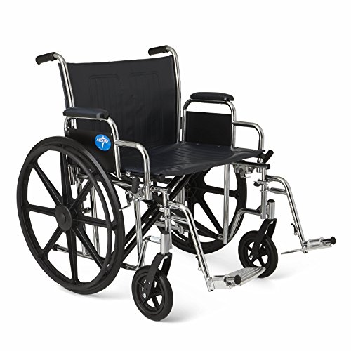 Medline Excel Extra-Wide Wheelchair, 22' Wide Seat, Desk-Length Removable Arms, Swing Away Footrests, Chrome Frame