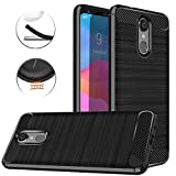LG Q7 Case, LG Q7 Plus Case, Dretal Carbon Fiber Shock Resistant Brushed TextureAnti-Fingerprint Flexible Soft TPU Phone Protective Cover Case LG Q7+/LG Q7 Alpha/Q7α (Black)