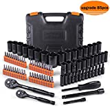 Drive socket set,85Pcs Socket Set Upgraded Accessories with 40pcs screwdriver set -SWS3A