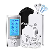 KEDSUM Rechargeable 16 Modes Tens Unit Muscle Stimulator, Pain Relief Machine Electric Pulse Impulse Mini Massager with 8 Pads, 2 Dual Electrode Wires and a 4-1 Electrode Wire