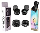 Cell Phone Camera Lens Kit 3 in 1 + Two Universal Clip On Adapter 180° Fisheye 15x Macro 0.36x Super Wide for iPhone Samsung Galaxy Smartphone