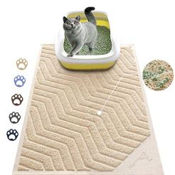 WePet-Cat-Litter-Mat-Kitty-Litter-Trapping-Mesh-Mat-35-x-23-Inch-Large-Beige-Premium-Durable-PVC-Rug-No-Phthalate-Urine-Waterproof-Easy-Clean-Washable-Scatter-Control-Litter-Box-Carpet