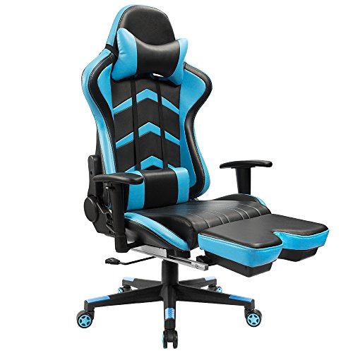 Furmax Gaming Chair High Back Racing Chair,Ergonomic Swivel Computer Chair Executive PU Leather Desk Chair With Footrest, Bucket Seat and Lumbar Support (Blue)