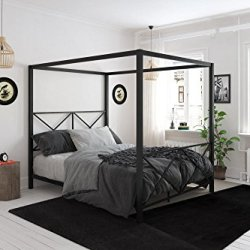 DHP Rosedale Metal 4 Poster Canopy Bed with Crisscross Headboard and Footboard – Queen (Black)