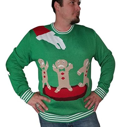 Bella Mica Ugly Christmas Sweater - With Santa's Hand - Terrified Gingerbread Men On a Red Platter (Medium)