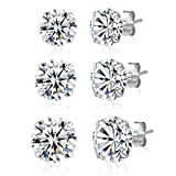3 Pairs 925 Sterling Silver Cubic Zirconia Stud Earrings 6mm-7mm-8mm Set Men Women