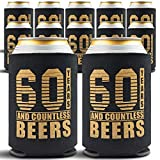 60th Birthday Decorations for Men - 12-Pack Party Can Coolers - 60th Birthday Gifts for Women - 60th Birthday Gift Ideas Beer Sleeve, 12 Insulated Sleeves, 60th Birthday Gifts for Men, Black and Gold