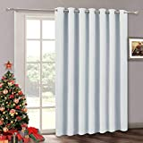 RYB HOME Blackout Thermal Insulated Door Blinds - Decorative Slide Glass Door Curtain Panel Repel Winter Cold & Summer Hot for Patio Door/Front Door/Large Window/Closet, 100' W x 84' L, Greyish White