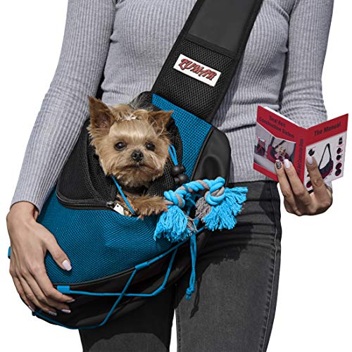 Lumar Pet Sling Carrier for Dogs and Cats Hands Free, Adjustable Size and Adaptable System for The Seatbelt Safety in The Car Toy Bonus for Traveling with The Small and Medium Dogs Measure Your PET 1