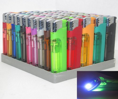 10 Pack Multi Purpose Cigarette Lighter w/ White LED Slide Switch Refillable