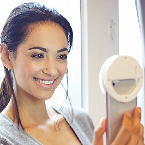 Selfie Ring Light for camera [Rechargeable Battery] Clip on Selfie LED Camera light with 36 LED for Smart Phone Camera, Round Shape,White