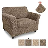 Chair Cover - Armchair Cover - Armchair Slipcover - Cotton Fabric Slipcover - 1-piece Form Fit Stretch Stylish Furniture Protector - Jacquard 3D Collection - Brown Arabesco (Chair)
