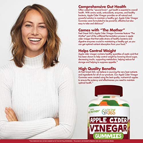 """Feel Great 365 Apple Cider Vinegar Gummies for Kids & Adults 