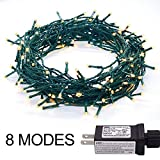 30V 8 Modes 200LED 82ft Indoor String Light Christmas Light Fairy String Lights for Homes, Christmas tree, Wedding Party, Bedroom, Indoor Wall Decoration, UL588 Approved(200LED, Warm White-Green Wire)