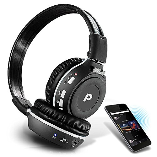 Premium Wireless Bluetooth Headphones, SD Wireless Card Reader, Dual Listening Mode - Listen w/ a Friend, MP3, Built-in Mic for Call Answering, FM Radio, Portable Folding Design, from Pyle (PHPMP39)
