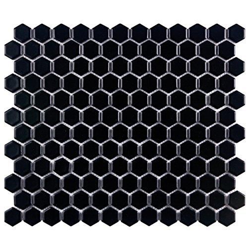 SomerTile FDXMHMB Retro Hex Porcelain Floor and Wall Tile, 10.25' x 11.75', Matte Black