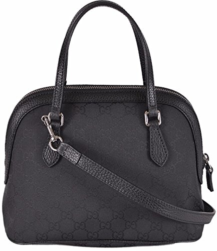 51t9BzuDTJL Smooth Black Nylon with Tonal GG Guccissima Pattern Pebbled Black Leather Trim Dual Leather Straps