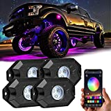 RGB LED Rock Lights Kit, Yvoone-Auto Underglow Neon LED Light Bluetooth Controller, Timing, Flashing, Music Mode Waterproof RGB led lights For Car Jeep Truck SUV ATV - 4 Pods