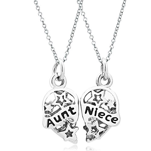 Q&Locket 2 Part Heart Love Mother Daughter Sister Best Friend Filigree Charm Pendant Necklace (Aunt Niece)