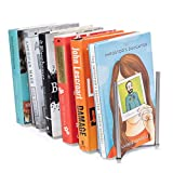Adjustable Stainless Steel Book Holder Decorative Free-Standing Rack Bookend Office Desktop Organizer Décor Display (23)