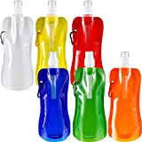 6 Pieces Collapsible Water Bottle Reusable Drinking Water Bottle with Clip for Biking, Hiking Travel, 6 Colors