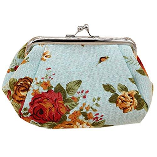 Women's Flower Printed Canvas Coin Wallet Clasp Closure Phone Bag Dumpling Purse