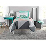Mainstay Gray Teal Bed in a Bag Comforter Set,Twin/Twin XL
