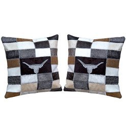 Leather Hair On Hide Pillow Cover