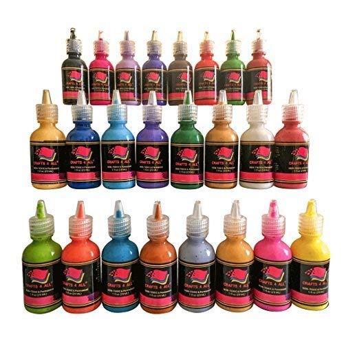 Fabric Paint 3D Permanent 24 Colors Set Premium Quality vibrant color textile paints dye for fabric, canvas, wood, ceramic, glass by Crafts 4 ALL