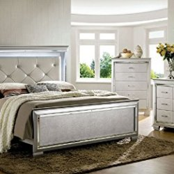 Bellanova Collection Contemporary Crocodile Textured Details Padded Tufted Leatherette HB Queen Size Bed w LED Dresser Mirror Nightstand 4pc Set Silver Finish Bedroom Furniture