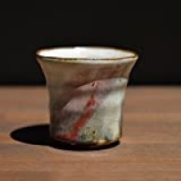 Japanese traditional ceramic Hagi ware. Shinsha red guinomi sake cup with wooden box made by Keita Yamato.