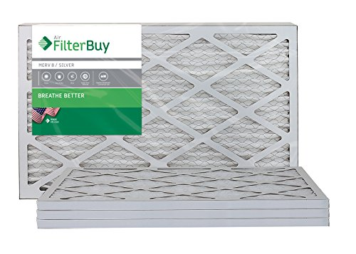 FilterBuy AFB Silver MERV 8 16x25x1 Pleated AC Furnace Air Filter, (Pack of 4 Filters), 100% produced in the USA.