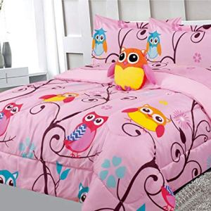 6 Piece Twin Size Kids Girls Teens Comforter Set Bed in Bag with Shams, Sheet set and Decorative Toy Pillow, Owl Branch…