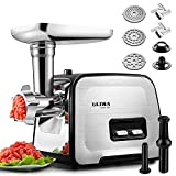 Upgrade Meat Grinder Electric, ALTRA Stainless Steel Meat Mincer Food Grinder& Sausage Maker Stuffer, [2000W Max] [Concealed Storage Box] Sausage Tubes& Kubbe Maker, 3 Sizes Plates, 2 Blades, 1 Pusher