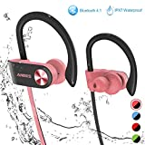 Bluetooth Headphones, ANBES IPX7 Waterproof Wireless Earbuds, Sports Earbuds with Ear Hooks & Mic, HD Stereo Sound in-Ear Bluetooth Earbuds, Up to 8 Hours Playing Time Gym Running (PinkBlack)